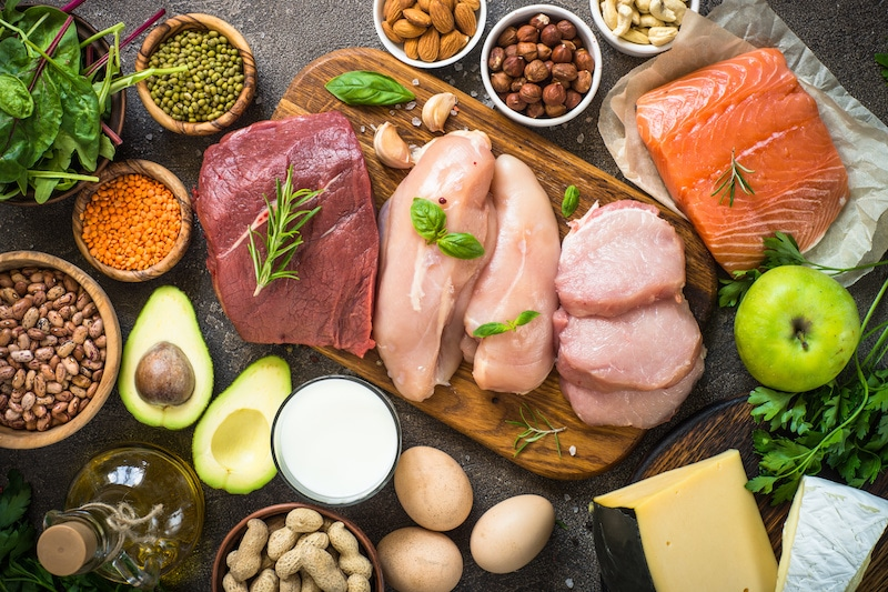 an array of common keto foods like beef, chicken, salmon, avocados, eggs, nuts, and more