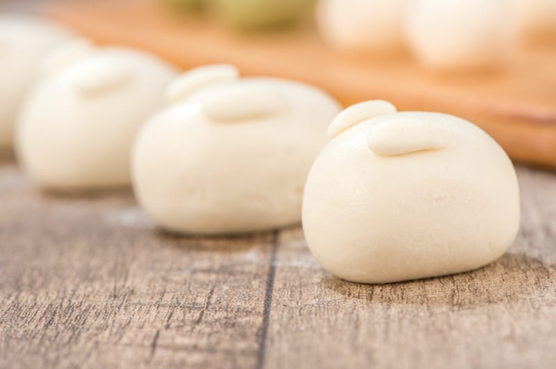 white dango with little ears so they look like bunnies